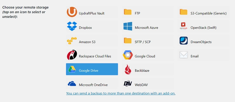 updraftplus- choosing backup location