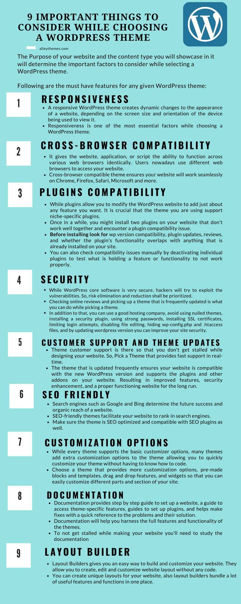 Infographic - 9 things to consider before choosing a wordpress theme
